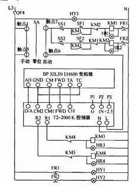 实际运行的控制器与变频器接线图